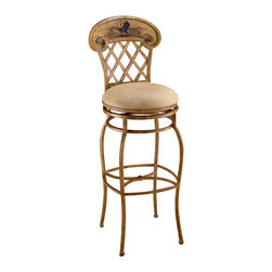 Hillsdale Furniture - Hillsdale Swivel Rooster 31.5 Inch Barstool - Who says country can't be chic? our Rooster metal stool combines a fashionable country casual design with an authentic hand painted Rooster motif and fabulous pricing to create a tremendous value for your kitchen or dining area. Stools have a neutral faux leather seat and a 360 degree swivel. Stools have a versatile antiqued country beige background finish with a hand paint design.