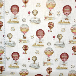 Hot air balloon fabric Paris France toile, Standard Cut - A hot air balloon fabric. A fabric with toile scenes of Paris, France and other places