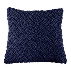BrandWave - Velvet Rouched Square Pillow, Navy - Brighten up any couch or bed with the ruched velvet pillow collection. Ruching originates in France, and is a pleated, fluted or gathered piece of fabric, that we have used as the design for this pillow collection. These pillows are great for layering. With both square and round pillows, don't be afraid to mix and match your shapes and colors.