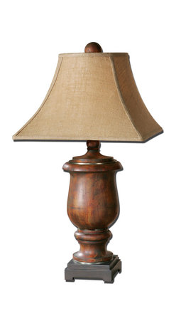 Uttermost - Kezia Wood Table Lamp - Illuminate your favorite setting with earthy elegance. This combination wood, metal and burlap lamp adds an honest, handsome vibe to your home's decor.