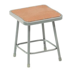 National Public Seating - Science Lab Stool w Hardboard Seat - Plastic guides. 14 in. Dia. seat with 11.5 in. Dia. masonite board recessed into pan and will not chip or crack. 0.63 in. O.D. foot rings are welded to each leg. Four contact points at each leg for added rigidity. Steel contains 30-40% of post-consumer waste (recycled). Meets ANSI and BIFMA standards. Warranty: Five years for material. Made from 0.88 in. O.D. 18-gauge steel tubing. 14 in. L x 16.5 in. W x 30 in. H (10 lbs.)