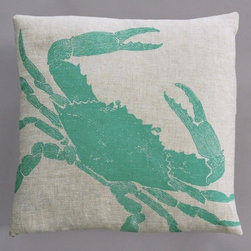 "Dermond Peterson - Big Crab Turquoise Pillow on Natural Linen - Bright, playful, and fun! Dermond Peterson pillows are a chic and sophisticated way to add a piece of art to your living room or bedroom. Features: -Color: Turquoise and Natural Linen. -Each pillow is made to order. -Hand block printed on natural linen using water based ink. -Feather and down insert. -Pillowcase is machine washable. -Machine wash cold on gentle cycle. -Made in Milwaukee, WI. -Overall dimensions: 20"" H x 20"" W x 4"" D."
