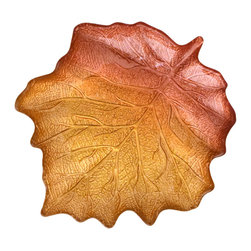 Traders and Company - Hand-Painted Small Gold and Umber Maple-Leaf-Shaped Plate - Embrace Autumn and welcome it into your home decor or next dinner party with our gold and umber maple leaf dishes. Perfect for serving food or around-the-home decoration. Alternate shapes & styles sold separately. Hand wash only; not for use in dishwasher, microwave, or oven.
