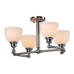 World Imports - Amelia 4-Light Semi Flush Mount, Satin Nickel - Four lights
