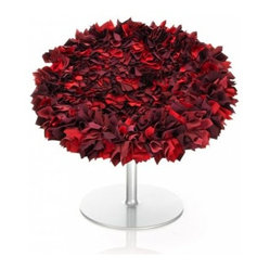 ecofirstart - Bouquet Chair - Everything's coming up roses for you in this stunning display of seatery. Intricately crafted by hand-sewing fabric squares to conjure the magic of petals, these egg-shaped chairs on a stem of chrome metal offer a billowy repose while simultaneously infusing your home with vibrancy.