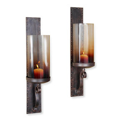 Kathy Kuo Home - Pair Kendall Hammered Iron Lodge Rustic Hurricane Candle Sconces - Bold metal details like rivets, scrolling and a matte bronze finish come to life in the Kendall hurricane lanterns.  Bridging modern and traditional, this pair deliver warm tea stained light and an artistic addition to a wide variety of environments.