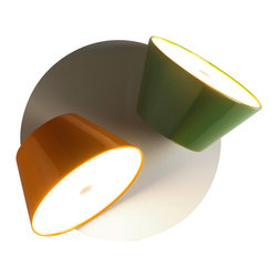 Marset - Tam Tam Wall Sconce - Double Shade - Marset - Tam Tam wall sconce is a bright and cheerful way to light up a room. Based on the shape of the traditional lamp shade, the 1 or 2 light sources can rotate 360 degrees so you can put the light where you want it. The bright colors of black, white, brown, green, or sand will liven up your environment. The single shade model is perfect at bedside with a switch at the bottom and the 2 shade model just begs to light up a corridor or any other place that needs a spot of light. They are small but the light they produce is mighty. Mix or match your favorite colors on a white base and let the fun begin.