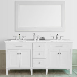 """72"""" Christine Double Sink Vanity With Travertine Marble Top - The 72"""" Christine Double Sink Vanity makes a magnificent centerpiece for larger bathroom spaces. The delicate painted finish, topped by gleaming white marble, is understated yet elegant; while the vanity""""s clean lines accentuate its contemporary styling. Three spacious drawers plus shelving offer more than enough storage space for your belongings. An ample-sized mirror in coordinating cream finish completes this eye-catching set."""