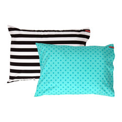 SWENYO - Teal Polka Dot and Black & White Stripe Pillow Case Set - Same is lame. Our unique pillowcases will add color and personality to any space. Hand-selected by our team of designers, this contrasting pillowcase set has vibrant colors and an incredibly soft feel finished with our signature red SWENYO tag.