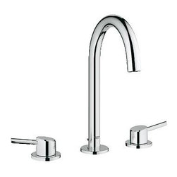 """Grohe - Grohe 20217001 Concetto Wideset Bathroom Faucet, Starlight Chrome - Grohe 20217001 Concetto Wideset Bathroom Faucet, Starlight Chrome Exploiting the beauty of the cylindrical form, the Concetto collection reflects the core values of Contemporary design, resulting in a precisely executed meeting of lines, angles and curves that combine superior ergonomics with a modern aesthetic. Concetto's new high spout design ensures that there is a faucet to match every basin permutation. Featuring an extra-wide operating angle, its elegant arch is highlighted by GROHE StarLight technology - our renowned chrome finish. The combination of GROHE SilkMove technology with a long lever handle, delivers fingertip control of the water. Grohe 20217001 Concetto Wideset Bathroom Faucet, Starlight Chrome Features: Three-hole Spout with flow control Ceramic cartridge GROHE QuickFix installation system with centering support 1 1/4"""" pop-up waste set Pressure resistant flexible conn"""