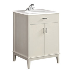 """Simpli Home - Urban Loft White 24"""" Bath Vanity with White Quartz Marble Top - The Simpli Home 24 inch Urban Loft Vanity Collection is defined by its white finish,  multi finish chrome pulls & hardware and clean lines and contemporary look.    This beautiful assembled vanity provides large storage area with internal shelf behind its 2 doors."""