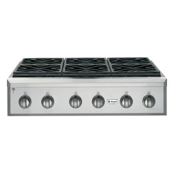 """GE Monogram - GE Monogram® 36"""" Professional Gas Rangetop with 6 Burners (Natural Gas) - Crafted of premium-grade stainless steel, professional gas Monogram rangetops have an overall look of sculptural sophistication. Offering commercial-grade cooking power with infinitely adjustable heat settings, a Monogram professional gas rangetop gives you carte blanche to indulge in all forms of experimentation."""