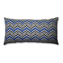 Pillow Perfect - Pillow Perfect Ripple Effect Baltic 23-inch Bolster Throw Pillow - Add the perfect blend of style and comfort to any space in your home with this 23-inch decorative bolster throw pillow. This charming accent features a blue and black chevron pattern design with knife edging.
