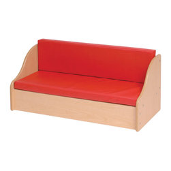 "Steffywood - Steffywood Home Pre Kids Red Cushion Wooden Childrens Sofa Lounge - Sofa has curved design and is great for any home or classroom. Red cushions included. Maple wood grained melamine laminate panels with rounded and finished edges.Red cushions included. Maple faced scratch resistant melamine panels are 5/8""thick. All edges have full finished rounded smooth corners. Made in the USA. GreenGuard certified."