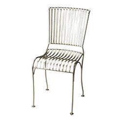 Butler Specialty - Butler Bingham Iron Side Chair - The zinc finish on this side chair is sleek and modern. Its sculptured, slatted frame is made from cast Iron for a comfortable seat that can be added to any space.