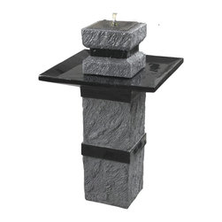 Kenroy - Kenroy 50028DST Monolith  Outdoor Solar Ftn - The look of rough, aged stone combines with contemporary Black detailing, giving Monolith it's memorable, aesthetic.  Solar powered with a remote on/off switch, this artful water feature can be placed freely without the need for electric outlets.
