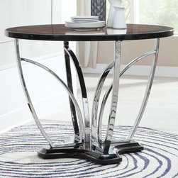 "Coaster - Mix & Match Counter Height Table - Make this stylish round contemporary table an amazing focal point in your casual dining area. It features an ornately designed pedestal base that holds up a sleek round faux marble top. Create your perfect match with a variety of Coaster counter height stools.; Contemporary Style; Chrome Metal Base; Dimensions: 47.50""L x 47.50""W x 36""H"