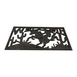 """AJcm-1108 - Cast Iron Cowboy and Horse Door Mat - Cast iron cowboy and horse door mat. Measures 15"""" x 23"""". No assembly required."""