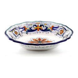 Artistica - Hand Made in Italy - Vecchia Deruta: Oval Deep Bowl Baccellato - Vecchia Deruta Collection: (Old Deruta)