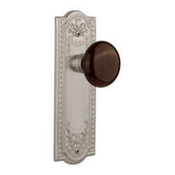 Nostalgic - Nostalgic Passage-Meadows Plate-Brown Porcelain Knob-Satin Nickel (NW-710459) - The satin nickel Meadows Plate, with its intricate beaded detailing and botanical flourishes, creates an inspired design theme. Adding our rich, Brown Porcelain knob only serves to compliment the warm, earthen hues in your home. All Nostalgic Warehouse knobs are mounted on a solid (not plated) forged brass base for durability and beauty.