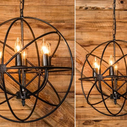 Sphere Chandelier - Beautiful and unique, our sphere chandelier features metal rings that flawlessly crisscross paying homage to our earth's rotation. Surrounding six upraised lights that come together at the bottom creating a natural and organic look. Perfect for your living room or dining room. Ceiling mount/cap and hardware included.