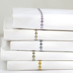 Pearl Embroidered Sheet Set, Full, Thyme Green - A lustrous row of silky smooth satin-stitched pearls dresses the border of our classic white sheet set. 100% cotton percale. 280 thread count. Set includes flat sheet, fitted sheet and 2 pillowcases (1 with Twin). Monogramming is available at an additional charge. Monogram will be centered along the border of the pillowcase and the flat sheet. Machine wash. Catalog / Internet Only. Imported.