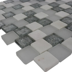"Sample Vestige Ice Mist 1/4 Sheet Tile - sample-VESTIGE ICE MIST 1/4 SHEET GLASS TILES SAMPLE You are purchasing a 1/4 sheet sample measuring approximately 6"" x 6"". Samples are intended for color comparison purposes, not installation purposes. -Glass Tiles -"