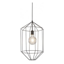 "Lori Suspension Lamp, Large 17""x22""x17"" - Lori is the Pendant Lamp with a drawn shade that protects the light source like a cage. Minimal and refined, it is the perfect complement to any living space."