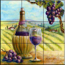 The Tile Mural Store (USA) - Tile Mural - Chianti  - Kitchen Backsplash Ideas - This beautiful artwork by Rita Broughton has been digitally reproduced for tiles and depicts a bottle of wine with a tuscan background.    Our decorative tiles with wine are perfect to use for your kitchen backsplash tile project. A wine tile mural adds elegance and interest to your kitchen wall tile area and makes a wonderful kitchen backsplash idea. Pictures of wine on tiles and images of wines bottles on tiles and wine glasses on tiles is timeless and these decorative tiles of wine blend with any decor. Your kitchen will come to life with a tile mural featuring wine.