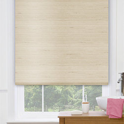 Blinds.com Premier Decorative Roller Shades in Villa Flax - Choose Premier Decorative Fabric Roller Shades by Blinds.com to bring a designer look to your windows at a low price. This exclusive fabric selection features many natural fibers, textures, stripes and prints not available in most roller shade collections. Shades come standard with light filtering lining (except Villa which requires blackout lining), and can be upgraded to be backed with reflective energy saving lining or blackout lining. All lining options are fully attached to the face fabric, and white to the outside. Choose from 2 operating systems: the standard Continuous Cord Loop or Cordless. In addition, a Cassette Valance is offered as an upgrade.