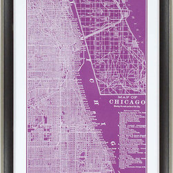 Paragon Decor - Map of Chicago Artwork - Map is matted in white and framed in dark wood finish molding with antique silver edge.