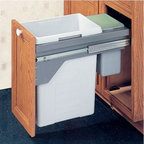 """Hafele - Drawer Slide-Out Double Waste Bin - 48.5 Liter - Waste and recycling systems from Hafele are skillfully engineered, making them suitable for both the home and the office. Inventive in idea and modern in style, Hafele waste receptacles are both durable and trendy. This double waste bin is side wall mounted with a manual full extension. It offers two separate waste compartments, one with the capacity of 40 liters and the other with the capacity of 8.5 liters. It also features accuride over travel slides. Important Note: Hafele is also a distributor and supplier for other brands. Note: This waste receptacle can only be mounted in frameless cabinets. Features: -Side wall mounted, manual full extension -Clip-on frame -Sturdy metal lid that is suitable as shelf and seals in odor -Smaller bin useful as a bio-bin or dog/cat food bin and to store plastic bags -Pails: Plastic, light gray -Finish: Plastic, light gray -Capacity: 1 x 8.5 liters; 1 x 40 liters (12.75 gallons total) -Overall Dimensions: 19.75"""" H x 14"""" W x 21"""" D"""