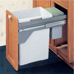 "Hafele - Drawer Slide-Out Double Waste Bin - 48.5 Liter - Waste and recycling systems from Hafele are skillfully engineered, making them suitable for both the home and the office. Inventive in idea and modern in style, Hafele waste receptacles are both durable and trendy. This double waste bin is side wall mounted with a manual full extension. It offers two separate waste compartments, one with the capacity of 40 liters and the other with the capacity of 8.5 liters. It also features accuride over travel slides. Important Note: Hafele is also a distributor and supplier for other brands. Note: This waste receptacle can only be mounted in frameless cabinets. Features: -Side wall mounted, manual full extension -Clip-on frame -Sturdy metal lid that is suitable as shelf and seals in odor -Smaller bin useful as a bio-bin or dog/cat food bin and to store plastic bags -Pails: Plastic, light gray -Finish: Plastic, light gray -Capacity: 1 x 8.5 liters; 1 x 40 liters (12.75 gallons total) -Overall Dimensions: 19.75"" H x 14"" W x 21"" D"