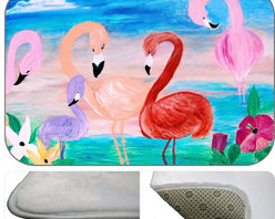 Famingo Garden Plush Bath Mat, 20X15 - Bath mats from my original art and designs. Super soft plush fabric with a non skid backing. Eco friendly water base dyes that will not fade or alter the texture of the fabric. Washable 100 % polyester and mold resistant. Great for the bath room or anywhere in the home. At 1/2 inch thick our mats are softer and more plush than the typical comfort mats.Your toes will love you.