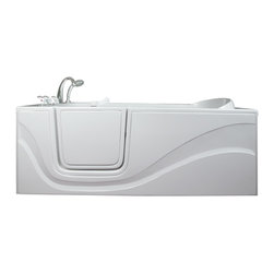 Ella's Bubbles - Ella Lay Down Soaking Walk In Bath, Left Side Door and Drain - The Ella Lay Down 60 in. Walk-In Bathtub is specifically designed for people who want to lay prone while bathing but cannot lift their legs to get in and out of a traditional bathtub. Its standard 30 in. by 60 in. length allows it to fit where a standard bathtub once was. Indulgence and enjoy bathing while you soak in our lay down walk in bathtub. This walk-in bath is constructed of the highest grade fiberglass composite with a gel coat high gloss finish for beauty and durability. It is supported with a durable stainless steel frame. Like all Ella Walk In Baths, the lay down walk in bathtub features our durable high gloss finish, anti-slip floor, low step for easy entrance, an extension panel to fit up to a 60 in. opening, a hand shower with pull out hose and a high quality Huntington Brass Roman Faucet set. You can chose from left or right hand side door and drain, the soaking model or the massage model which is equipped with air, hydro or dual therapy massage options.