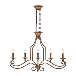 Quoizel Jillian Island Chandelier With 5 Lights - This five-light chandelier is an elegant choice above the island in a traditional kitchen. It evokes a simple beauty without being fussy.