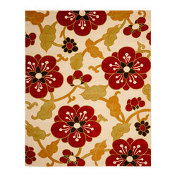 Safavieh - Safavieh Newbury Nwb8702-1240 Ivory / Red Area Rug - The bold design statement of Safavieh is Newbury area rugs is expressed through large-scale flowers and medallions. A palette of carefully selected earth tones gives the Newbury rugs a wide range of options. This collection is power-loomed using polypropylene fibers for durability, easy maintenance, and luxurious softness. A Newbury area rug adds color and warmth to a transitional living room, dining room, or bedroom floor.