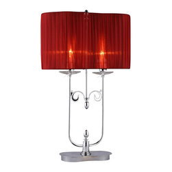 Warehouse of Tiffany - Cliona Red Fabric 2-light Chrome Table Lamp - The Cliona accent table lamp anchors a room with its elegant organic styling. The twisting chrome vines are highlighted by the lovely red fabric shade that creates a soft ambient light.Setting: IndoorFixture finish: ChromeShades: Red fabricNumber of lights: 2Requires two (2) 60 watt bulbs (not included)Dimensions: 29 inches high x 16 inches in diameterThis fixture does need to be hard wired. Professional installation is recommended.CSA Listed, ETL Listed, UL Listed
