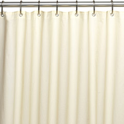 Standard-Sized, 6 Gauge PEVA Liner in Bone - Peva shower curtain liner, 6 gauge with metal grommets in Bone. Made of extra heavy (6 gauge), PEVA material, this standard-sized (72'' x 72'') liner will provide premium protection for your favorite shower curtain. PEVA does not contain PVC (chlorine),  nor the chemical smells associated with traditional vinyl liners. PEVA is inherently mildew/mold resistant and easily wipes clean. Additionally, this liner has a weighted hem to keep it in place and metal grommets along top to prevent tearing. You wouldn't even need a separate shower curtain! Here in Bone, you can find this PEVA liner in frosty clear, white, or super clear. Wipe clean with damp sponge with warm soapy cleaning solution
