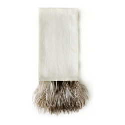 Ostrich Feather Guest Towel - Ivory / Salt&Pepper - With the Ostrich Feather Guest Towel - Ivory/Salt & Pepper, panache is present in the powder room. A tuft of feathers dappled with gray, white, and umber create a most unique and distinctive accent for the bath. The soft coloration allows for ease in blending with the appurtenances of transitional baths either subtle or bold in color.