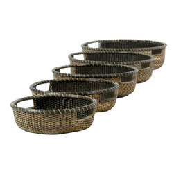 Oriental Furniture - Rattan Low Basket Tray ( Set of 5 ) - Antique Finish - This set of five round tray baskets was hand crafted from excellent quality split vine rattan and finished with a wonderful antique stain. With its warm, earthy appearance and convenient handles, this set is perfect for adding a subtle tropical elegance to your table top or buffet, as well as dozens of unique decorative and practical possibilities.