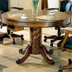 Coaster Turk 3-in-1 Round Pedestal Game Table in Medium Oak Finish