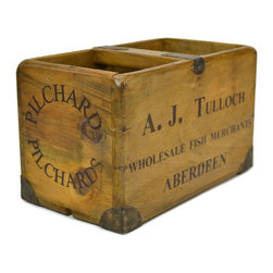 A.J. Tulloch of Aberdeen - Consigned Wooden Fishmonger Trug for Pilchards, Vintage Scottish - Rustic wooden fishmonger box with handle, from A.J. Tulloch of Aberdeen; vintage Scottish, second half of the 20th century.