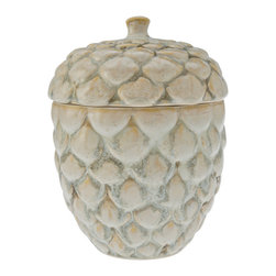 Kouboo - Candy & Cookie Jar in Pine Cone Shape - Sculpted in the shape of a pine cone this candy or cookie jar will be everybodys best friend in your family room or you coffee table. Elegantly shaped and carefully finished this useful jar is as much a decorative piece.1 year limited warranty.