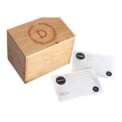 Heirloom Recipe Box, Cherry, F - We wanted to create the perfect recipe box, with a well thought out and designed recipe card set to accompany it. One that would be built to last, and to hand down for generations. With the innovation of the lid to be flipped over and double as a recipe card holder with a slightly angled slot to prop up your favorite recipe for easy reading. Perfect as a wedding, bridal shower, anniversary, or housewarming gift, or a great addition to your own kitchen! Customize this elegant wreath design with the monogrammed letter of your choice. The lid has a lip on the bottom to fit perfectly within the top of the box. This recipe box fits standard 4x6 cards. Finished with a clear, satin coat.