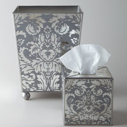 "Horchow - Damask Wastebasket - The vanity just got more glamorous. A classic damask pattern is paired with the shine of mirrors to form lovely accessories for dressing room or bath. Mirrored, with an etched damask design. Tissue box cover, 5.25""Sq. x 5.5""T. Wastebasket, 9""Sq. x 1..."