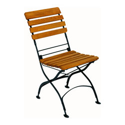Haste Garden - Rebecca Folding Side Chair - - The black frame is made from steel, powder-coated and baked-on enamel paint for outdoor use.