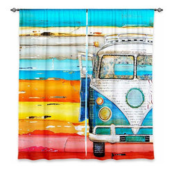 "DiaNoche Designs - Window Curtains Lined by Danny Phillips Playing Hooky - Purchasing window curtains just got easier and better! Create a designer look to any of your living spaces with our decorative and unique ""Lined Window Curtains."" Perfect for the living room, dining room or bedroom, these artistic curtains are an easy and inexpensive way to add color and style when decorating your home.  This is a woven poly material that filters outside light and creates a privacy barrier.  Each package includes two easy-to-hang, 3 inch diameter pole-pocket curtain panels.  The width listed is the total measurement of the two panels.  Curtain rod sold separately. Easy care, machine wash cold, tumble dry low, iron low if needed.  Printed in the USA."