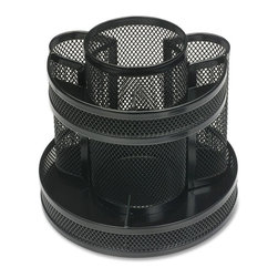Business Source - Business Source Rotary Mesh Organizer - 6.6 Height x 6.6 Width x 6.6 Depth - Mesh rotary organizer offers different compartment sizes that are suitable for storing small stationery items. Mesh design allows you to see what is stored in the compartments from the side. Organizer includes vertical compartments for writing utensils, scissors and other tall items, and low-profile horizontal compartments for paper clips, tacks and other small items. Horizontal compartments are located at the bottom and top. Organizer is made of mesh steel with a powder-coat finish.