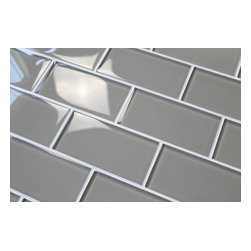Rocky Point Tile - Taupe 3 x 6 Glass SUbway Tiles, 10 Square Feet - A nice medium toned taupe 3 x 6 glass subway tile. These tile comes loose packed giving you the option to arrange them in the pattern of your choice. This color is also available in an arabesque glass mosaic tile.